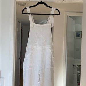 """Lily Ashwell """"Jo Dungarees"""" White Linen Overalls"""